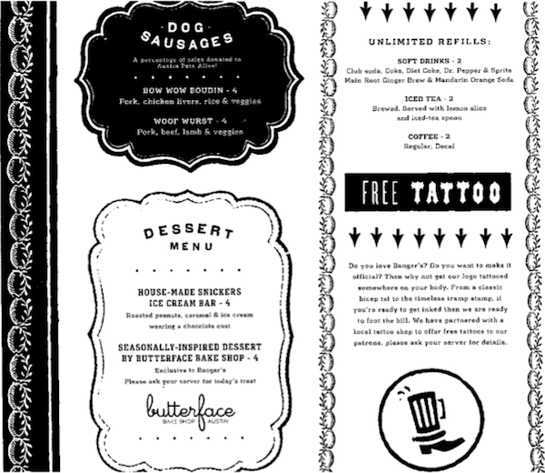 Banger's menu offers a free tattoo of their logo.