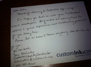 CustomInk thank you note